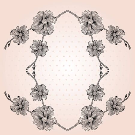elegant floral frame for life events with place for text Vector