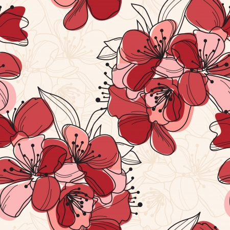 floral scroll: elegant seamless pattern with hand drawn cherry blossom for your design
