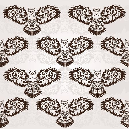 elegant seamless pattern with decorative owls for your design Vector