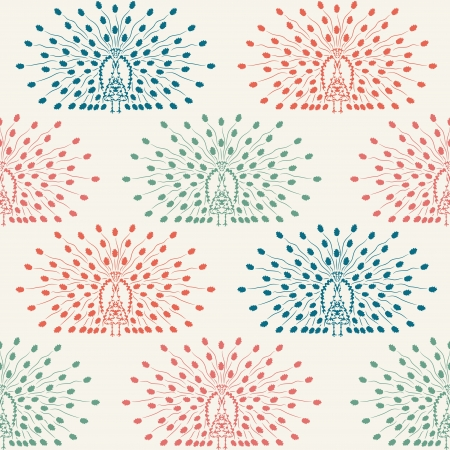 endless repeat structure: elegant seamless pattern with decorative peacocks  Illustration