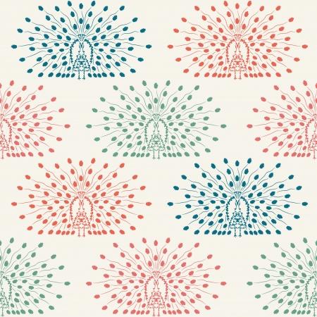 elegant seamless pattern with decorative peacocks  Illustration
