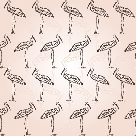 elegant seamless pattern with decorative storks for your design Vector