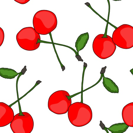 endless repeat structure: elegant seamless pattern with tasty cherries for your design Illustration