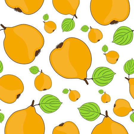 quince: elegant seamless pattern with tasty quince fruits for your design