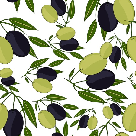 elegant seamless pattern with olive branches for your design Vector