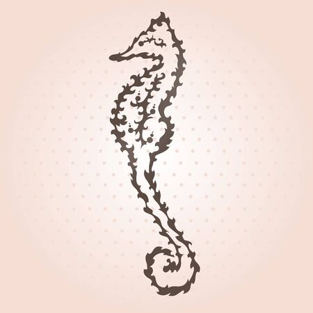 hand drawn decorative seahorse, design element Vector
