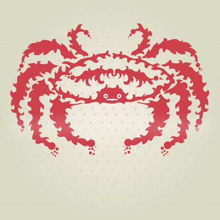 crabby: hand drawn decorative crab, design element Illustration