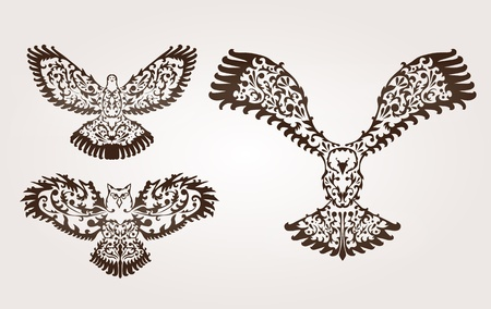 hand drawn decorative owl, dove and eagle, design elements Vector