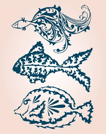 seafish: hand drawn decorative fishes set for your design Illustration