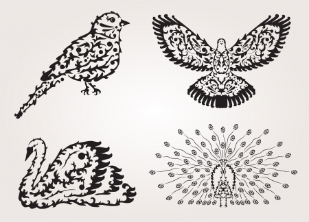 hand drawn decorative birds, design elements Vector
