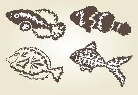 seafish: hand drawn decorative fishes, design elements Illustration