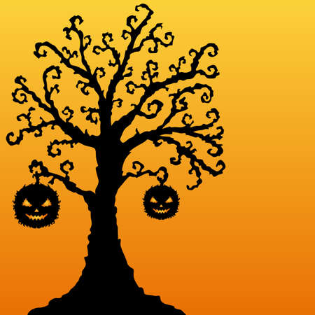 hand drawn decorative tree with pumpkins for Halloween Stock Vector - 21494146