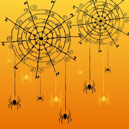 hand drawn decorative spider webs and spiders for Halloween Vector