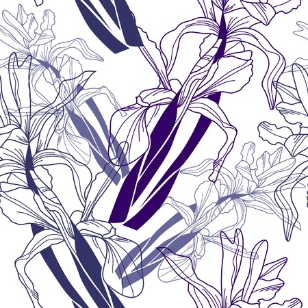 elegant seamless pattern with hand drawn iris flowers for your design Stock Vector - 21634629
