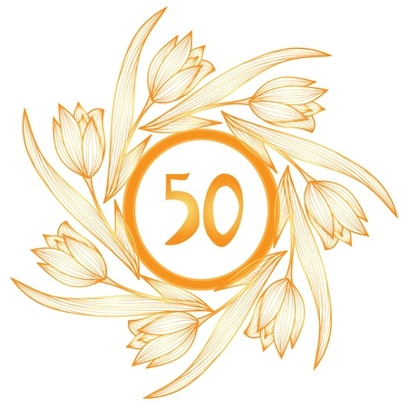 50th anniversary golden floral banner Vettoriali
