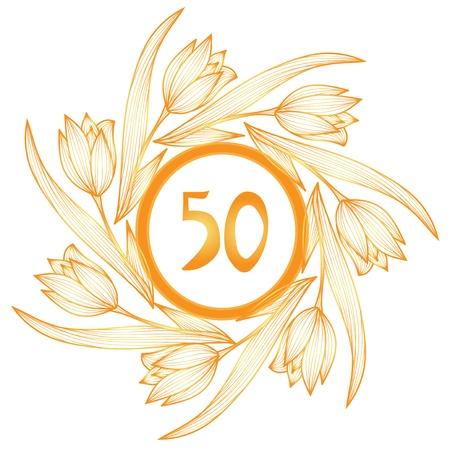 aniversario bodas oro 50 aniversario bandera floral de oro Vectores