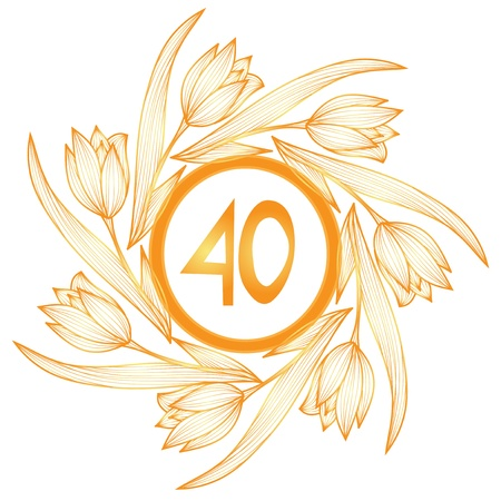 40th: 40th anniversary golden floral banner Illustration