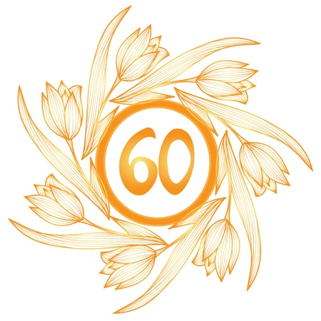 60th: 60th anniversary golden floral banner