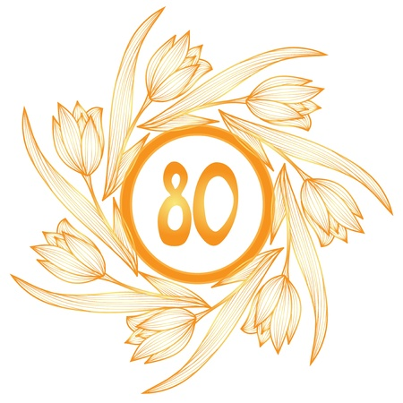 eighty: 80th anniversary golden floral banner