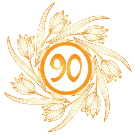90th: 90th anniversary golden floral banner