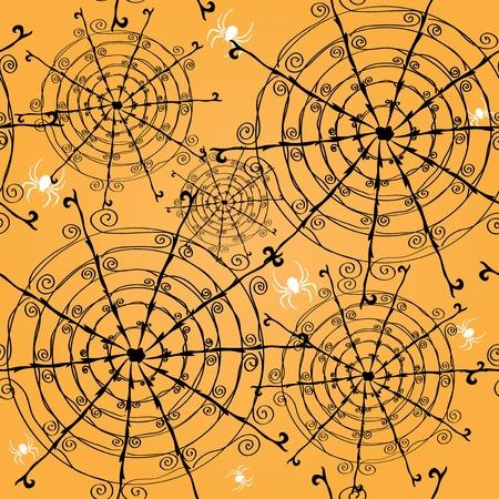 クモの巣とクモあなたのデザインのエレガントなシームレス パターン