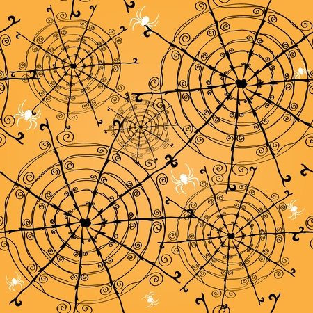 elegant seamless pattern with spider webs and spiders for your design