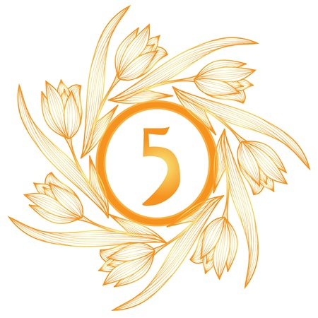 5th: 5th anniversary golden floral banner Illustration