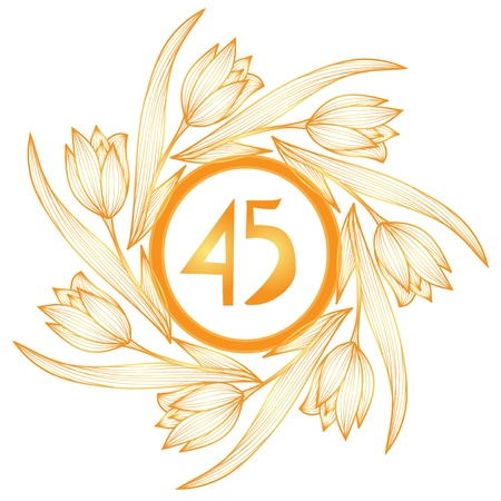45th: 45th anniversary golden floral banner