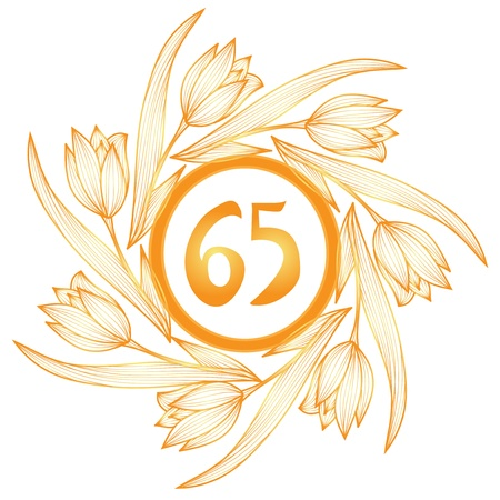 65th: 65th anniversary golden floral banner Illustration