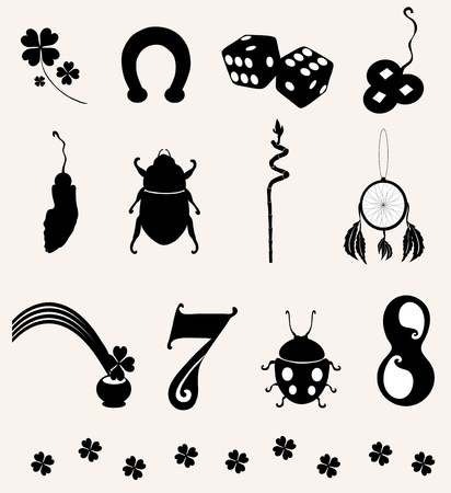 signifier: set of 12 principal symbols of luck for your design Illustration