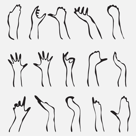 set of 15 human hand silhouettes for your design Vector