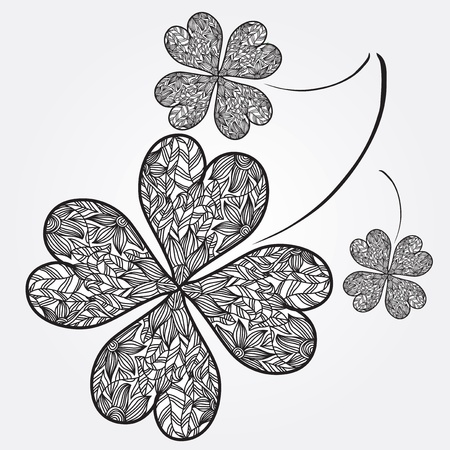 hand drawn decorative four leaf clovers, symbol of luck Vector
