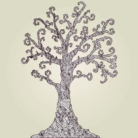 hand drawn decorative tree, symbol of nature Vector