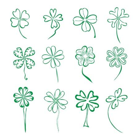 four leaf: juego de 12 dibujado a mano decorativos tr�boles de cuatro hojas para su dise�o Vectores