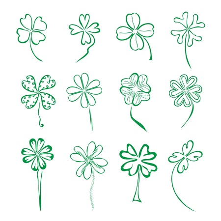 set of 12 hand drawn decorative four leaf clovers for your design Vector