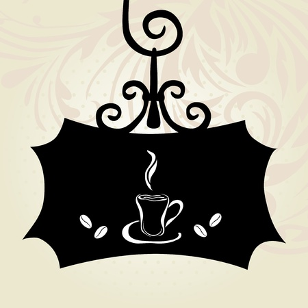 elegant retro signboard with coffee cup Vector