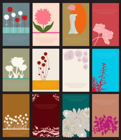 set of 12 decorative floral cards for life events  Vector