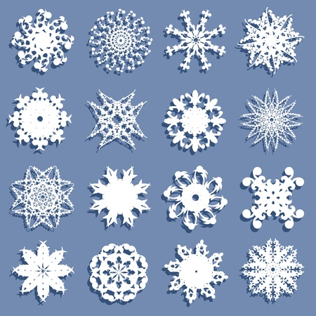 set of 16 hand drawn decorative snowflakes  Vector