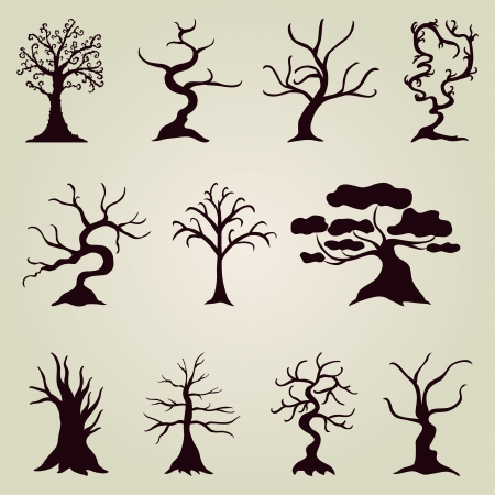 set of 11hand drawn decorative trees for your design Vector