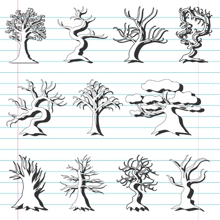 set of 11 hand drawn decorative trees for your design Vector