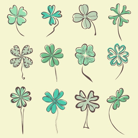 set of 12 hand drawn decorative clovers for your design Vector