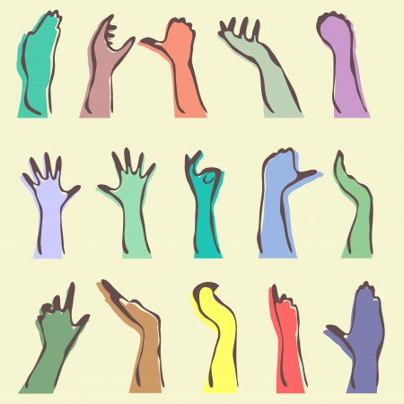 set of 15 human hand silhouettes Vector