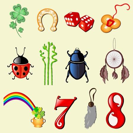 buena suerte: conjunto de 12 símbolos principales de la suerte Vectores