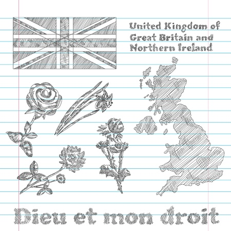 great britain: set of floral symbols of United Kingdom of Great Britain and Northern Ireland, flag, map and slogan