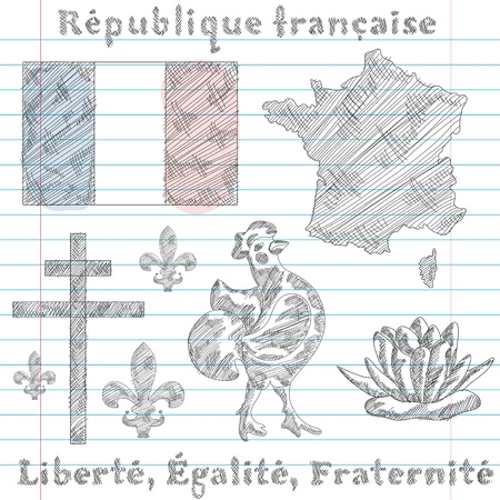 set of principal symbols of French Republic, flag, map and slogan