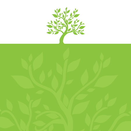 hand drawn decorative green tree Vector