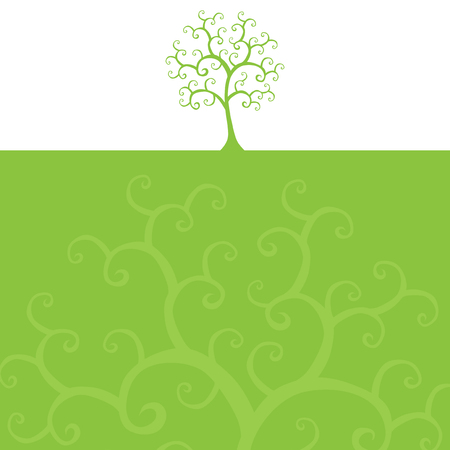 hand drawn decorative green tree for your design Vector