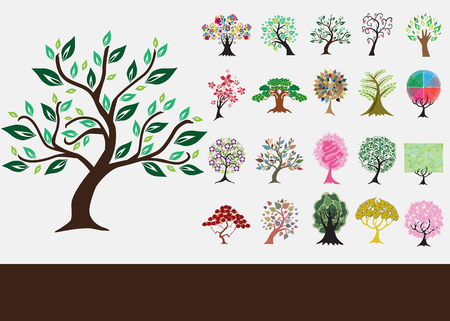 set of 20 hand drawn decorative trees  Vector