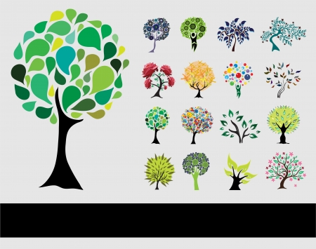 set of 16 hand drawn decorative trees for your design Vector