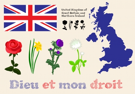 set of floral symbols of United Kingdom of Great Britain and Northern Ireland, flag, map and slogan Stock Vector - 23104325